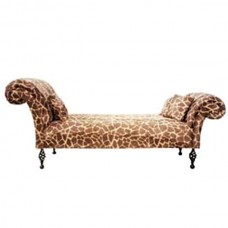 Double-ended chaise without back in animal print fabric