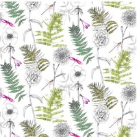 ACANTHUS DIGITAL PRINTED FABRICS OF FLOWERS AND FERNS